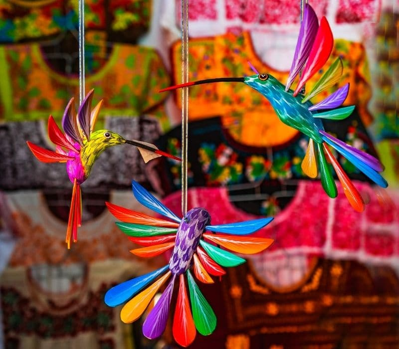 colorful mayan hummingbird art, one of the things to do in Merida, Mexico
