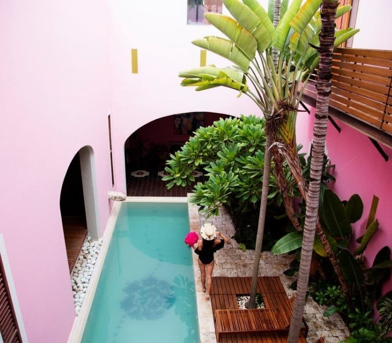 beautiful pink hotel, one of the things to do in Merida, Mexico
