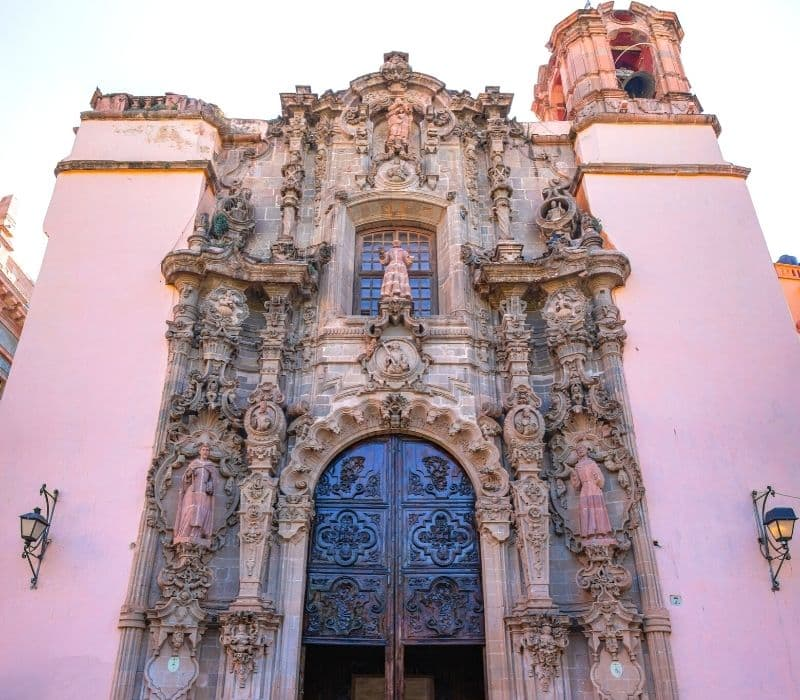 pink church with elaborate entryway