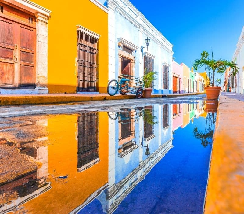 Colorful colonial town of in Campeche, near Merida, Mexico, Yucatan Peninsula