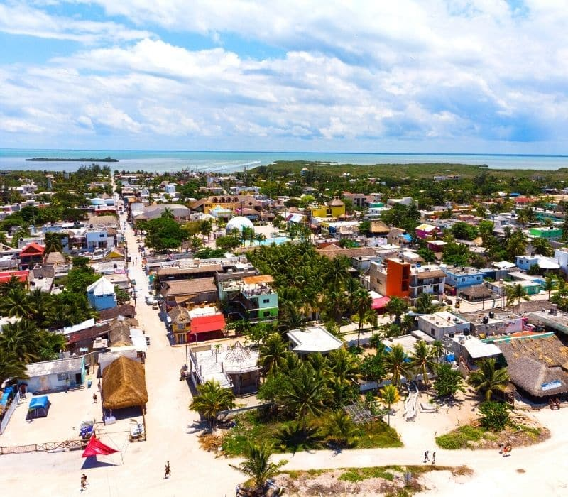 aerial view of the small beach town of Holbox Island
