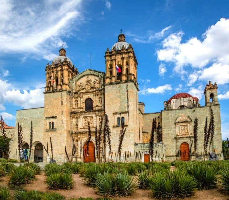 historic colonial spanish church and plants