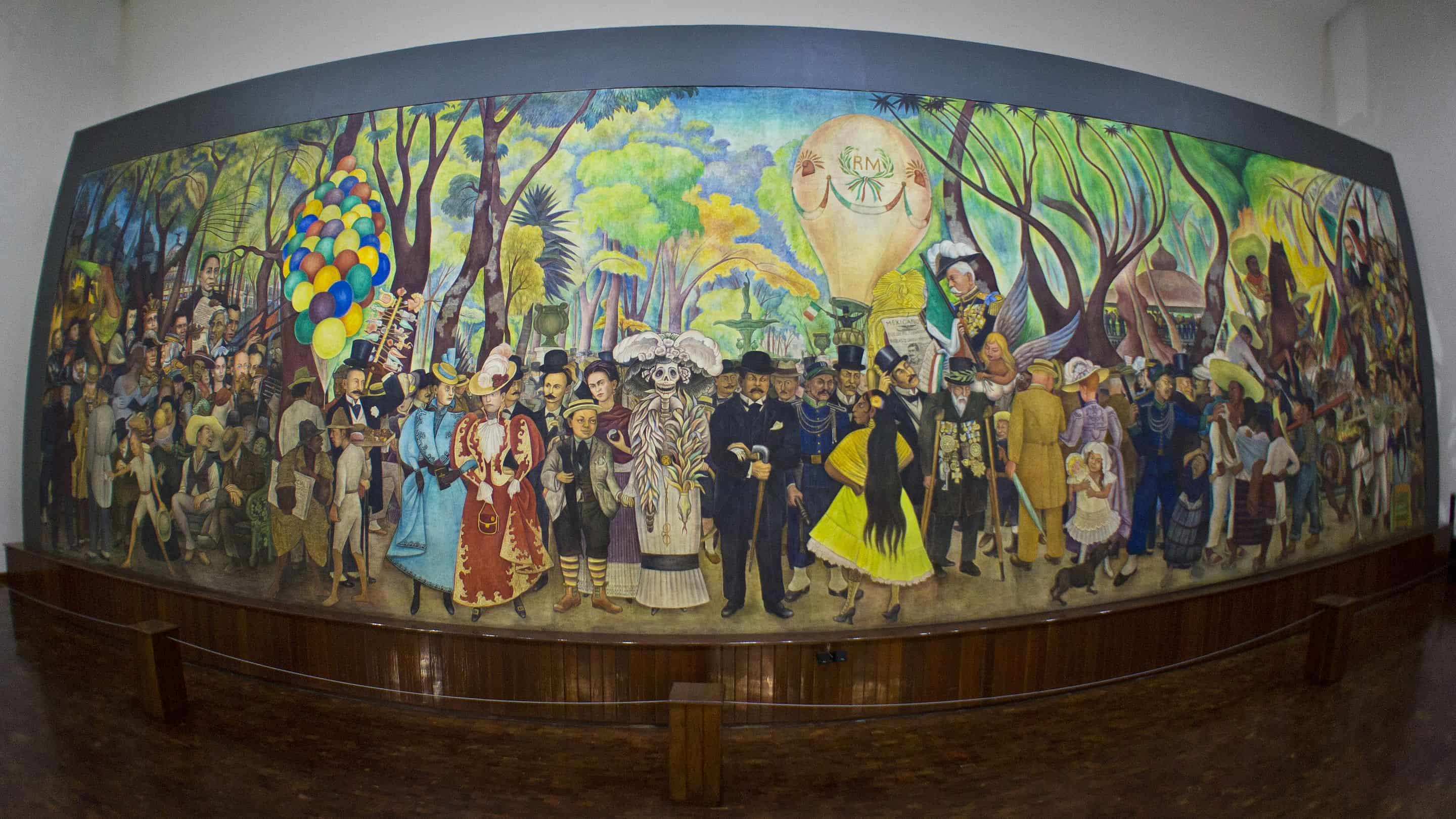 mural painting by diego rivera of festive scene in a park with about 50 people