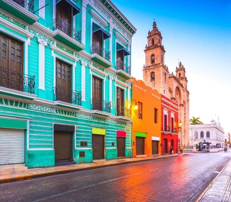 Colorful colonial buildings