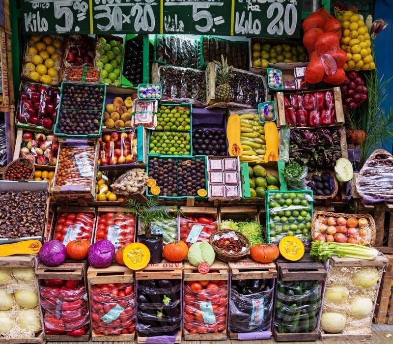 Mexico mercado market with fruits and veggies