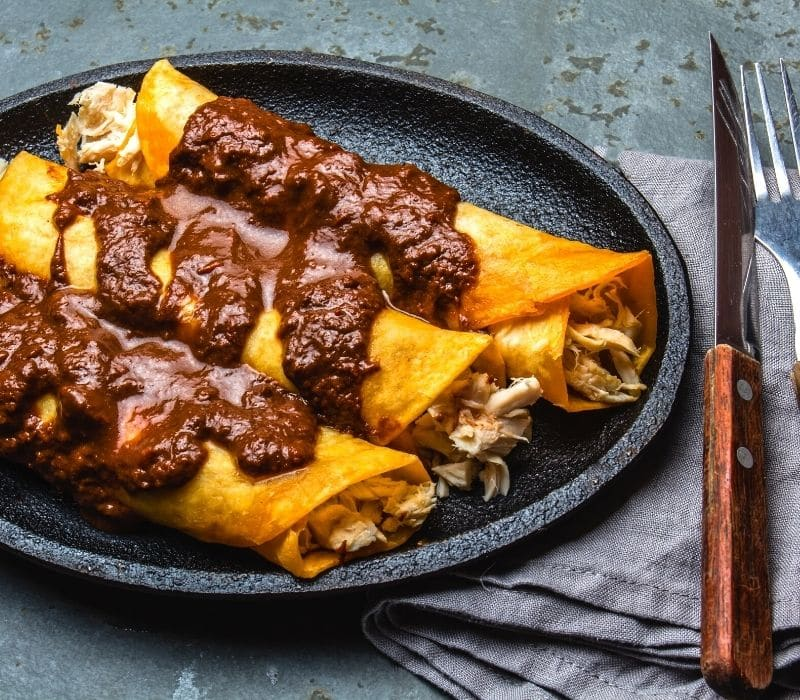 chicken enchiladas on a place with brown mole sauce on top - Traveling to Oaxaca