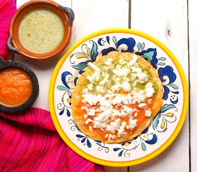 Tortillas with salasa and cheese on a plate