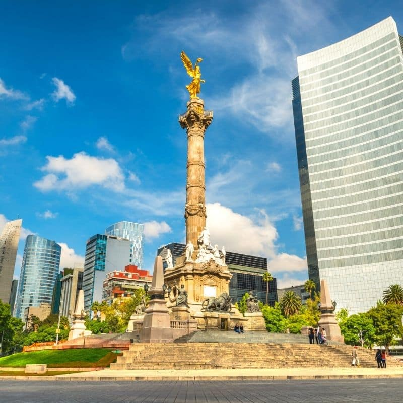 golden Angel of Independence statue on Reforma Avenue in Mexico City