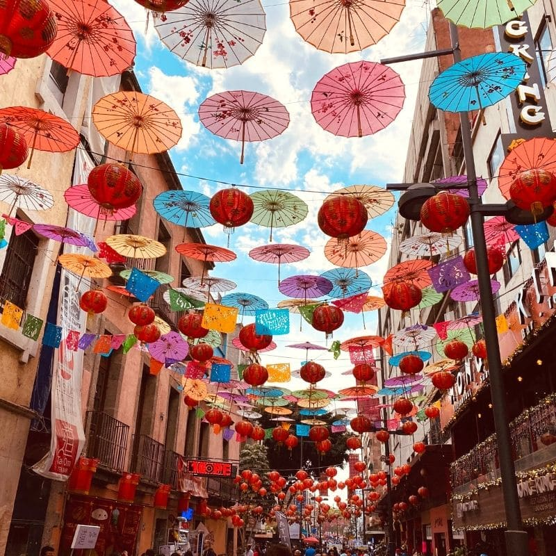 Colorful paper lanterns and umbrellas in Mexico City's China Town