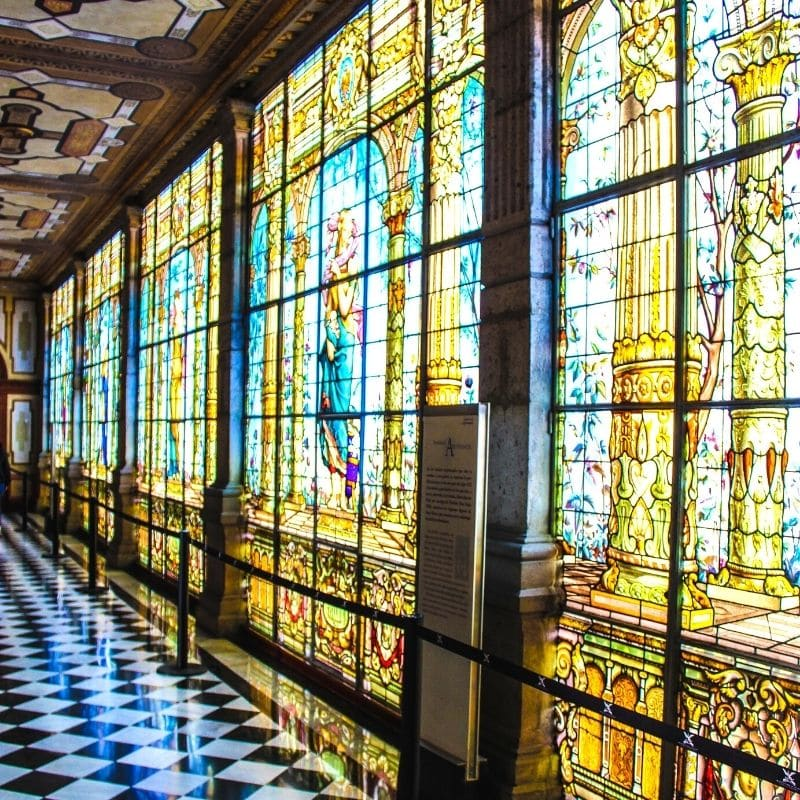 Stained glass windows in Lake at Chapultepec Castle