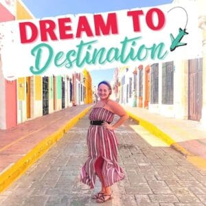 podcast cover-woman on a colorful colonial street
