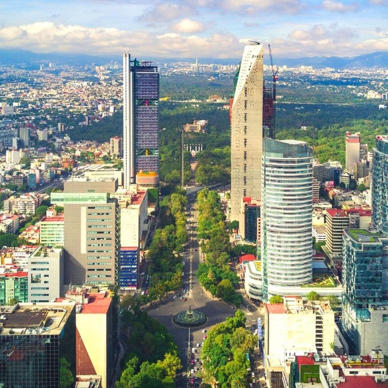 Trees and skyscrapers along Reforma Avenue
