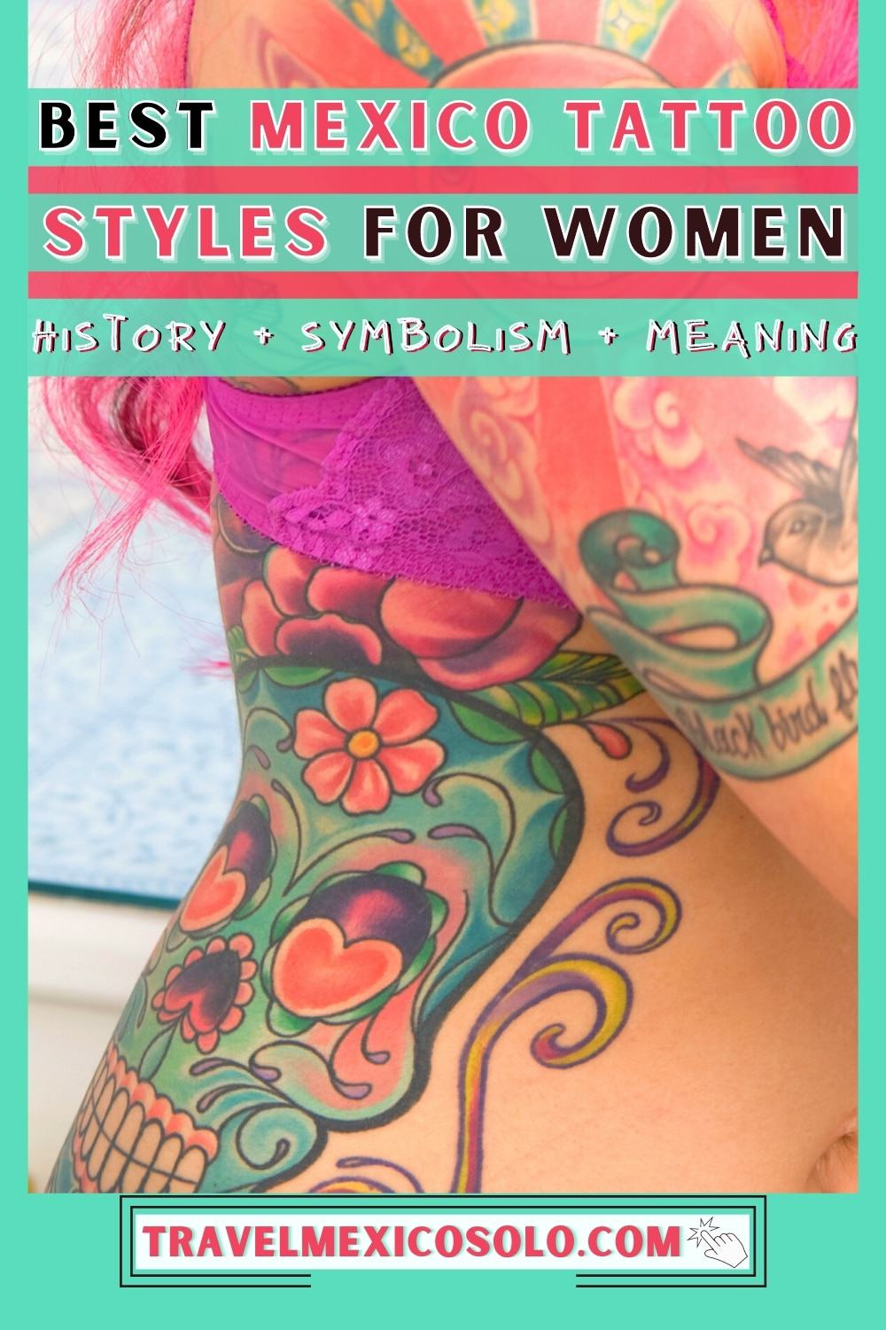Sugar skull colorful tattoo on a woman