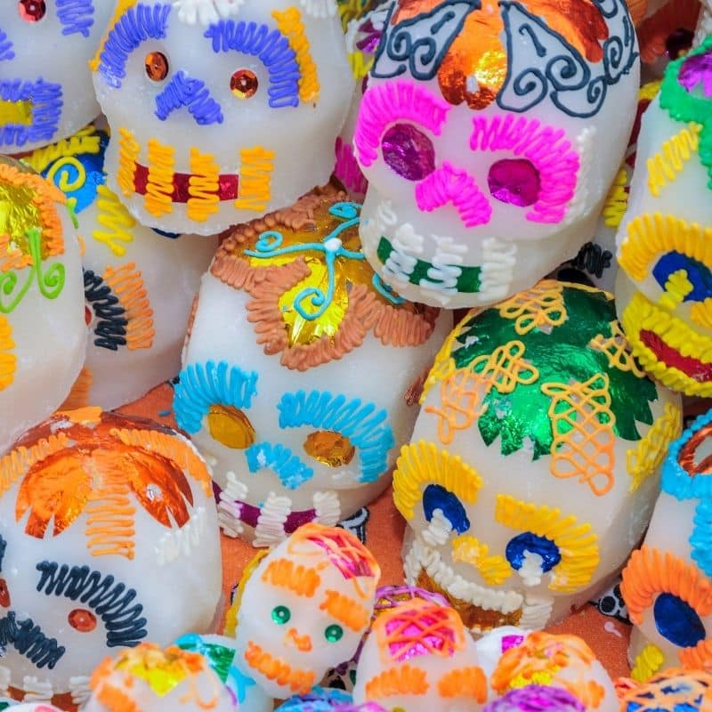 colorful candy sugar skulls | oaxaca day of the dead in mexico