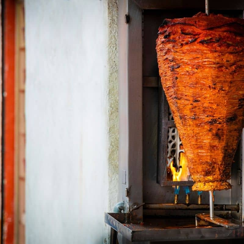 Meat on a trompo for tacos al pastor