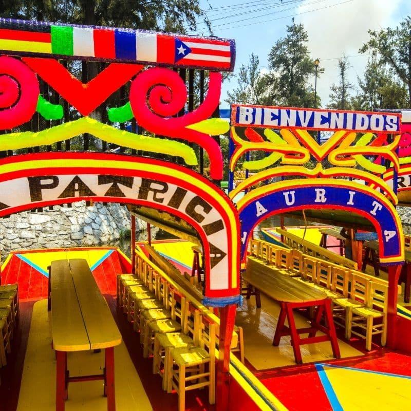 colorful trajineras, gondola-style boats, at Xochimilco
