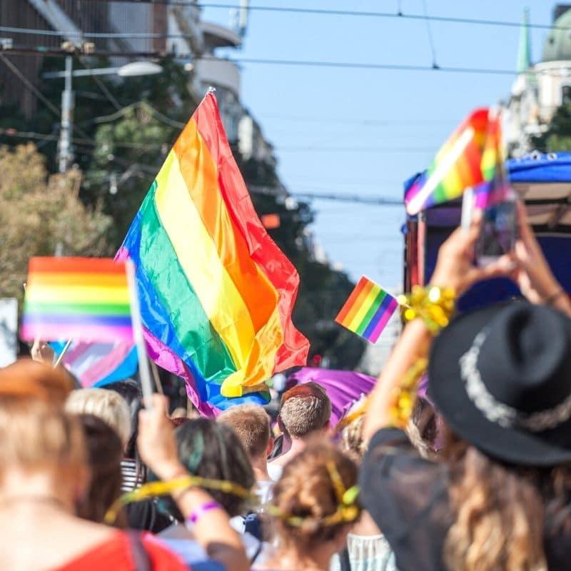 LGBTQ+ rainbow flags at Pride Parade in Mexico city/Zona Rosa