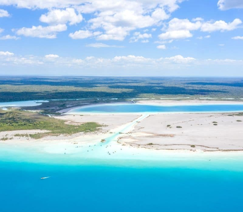Pirate's Channel in blue waters of Bacalar Lagoon Mexico