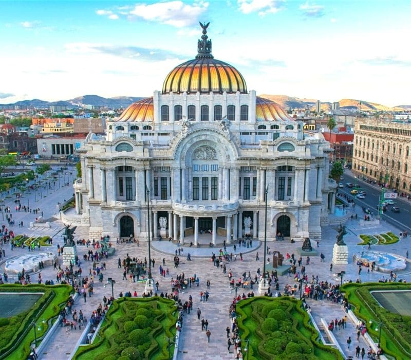 beautiful large european-style building with golden dome in mexico city