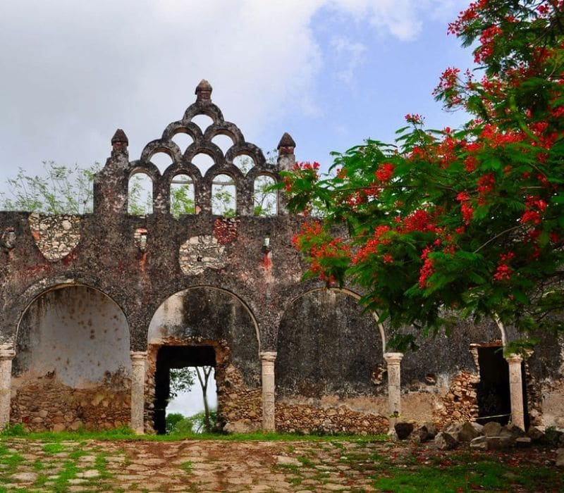old hacienda with stone architecture