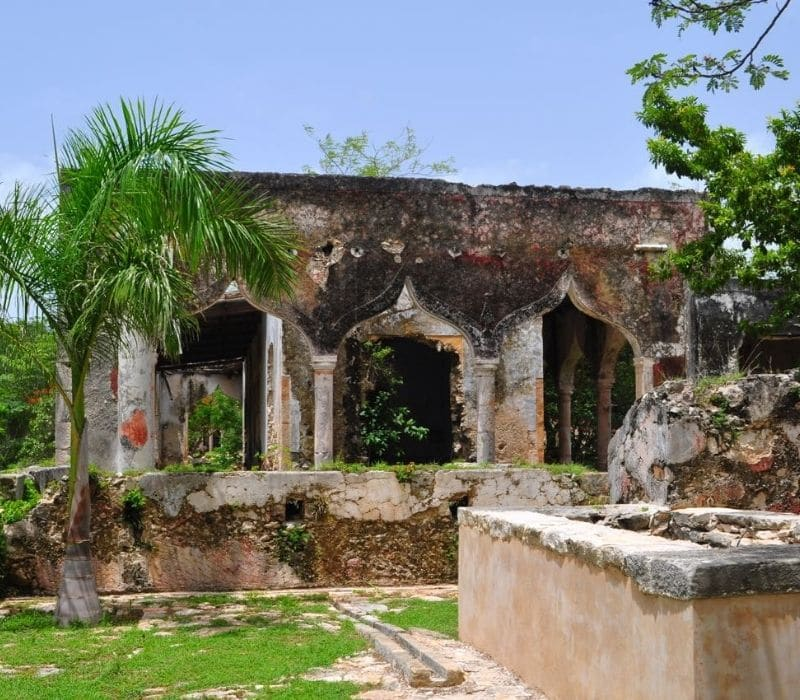 old stone architecture in a tropical setting