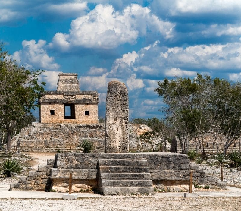 mayan pyramid stone building - day trips from Merida