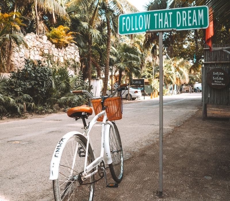 Tulum's famous Follow That Dream sign, located on the beach road outside of Lolita Lolita.