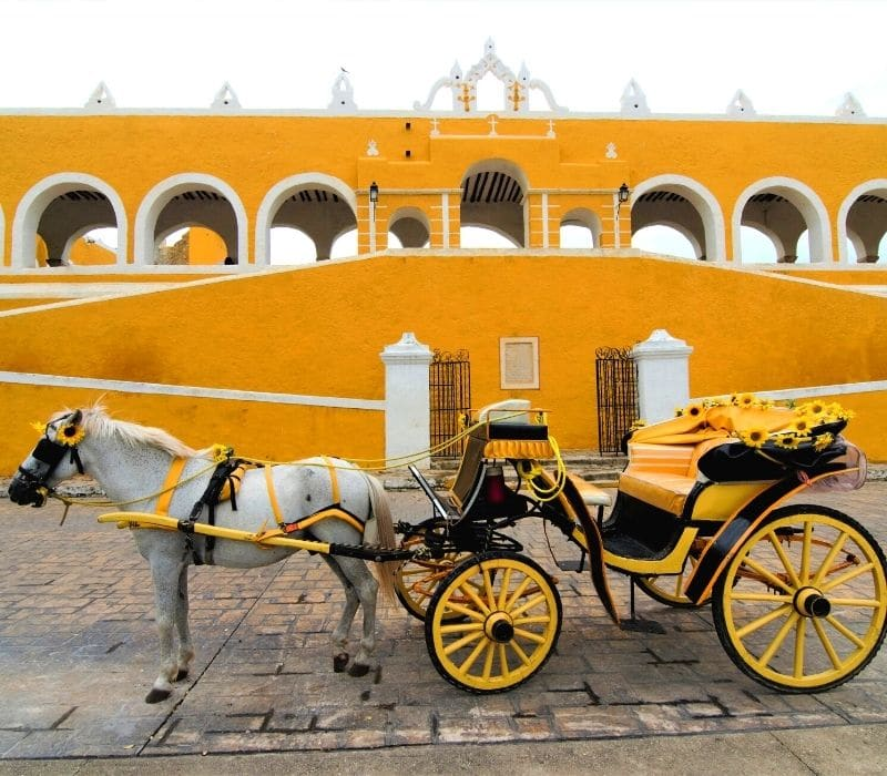yellow walls in old city and yellow horse and carriage buggy in Izamal, near Merida, Mexico, Yucatan Peninsula