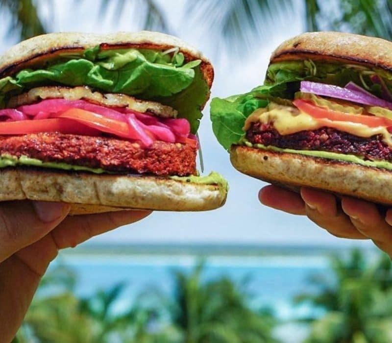 veggie burger in bacalar, mexico