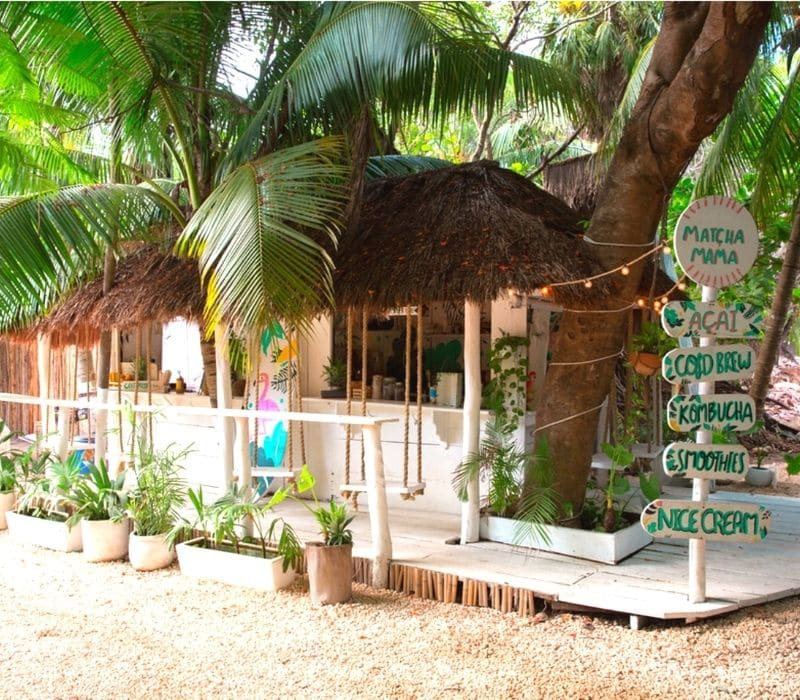 Matcha Mama is one of the most photographed cafes in Tulum, Mexico