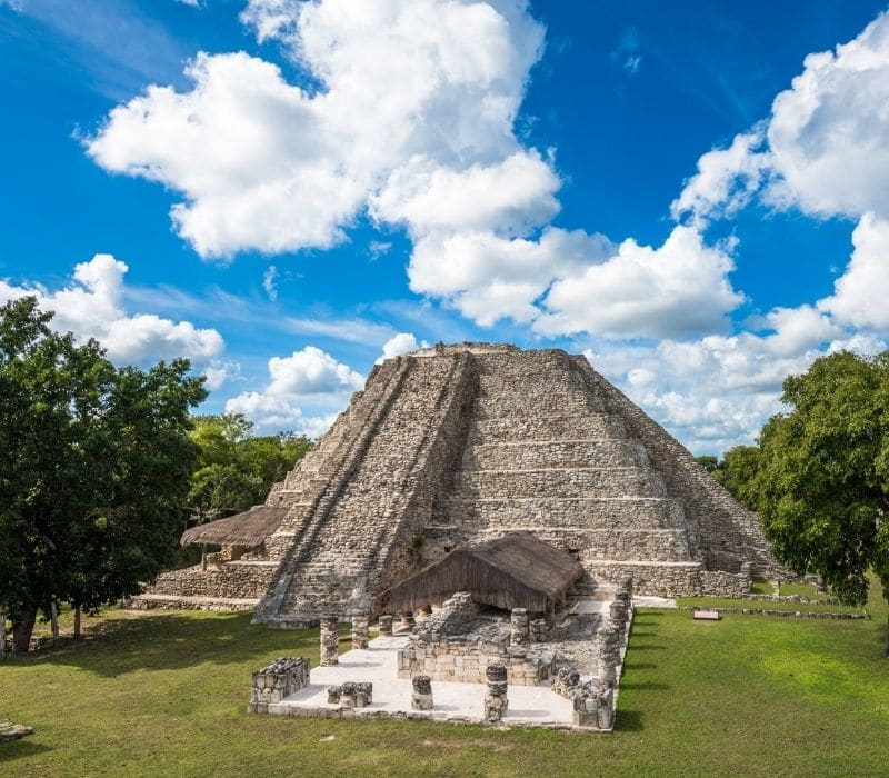 old mayan archeological site with stone pyramid building