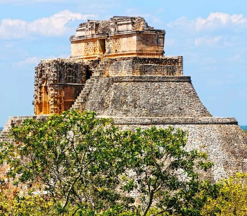 tall, large mayan pyramid - day trips from Merida