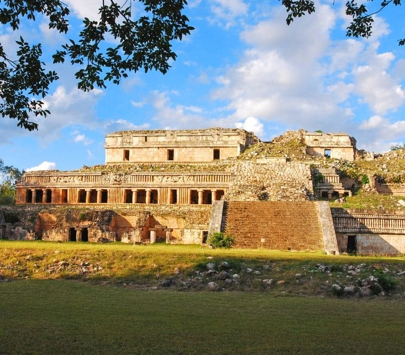 large stone building at mayan archeological site