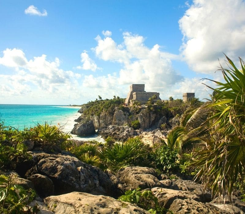 Tulum Ruins Mayan archeological site, located on the beach in Tulum
