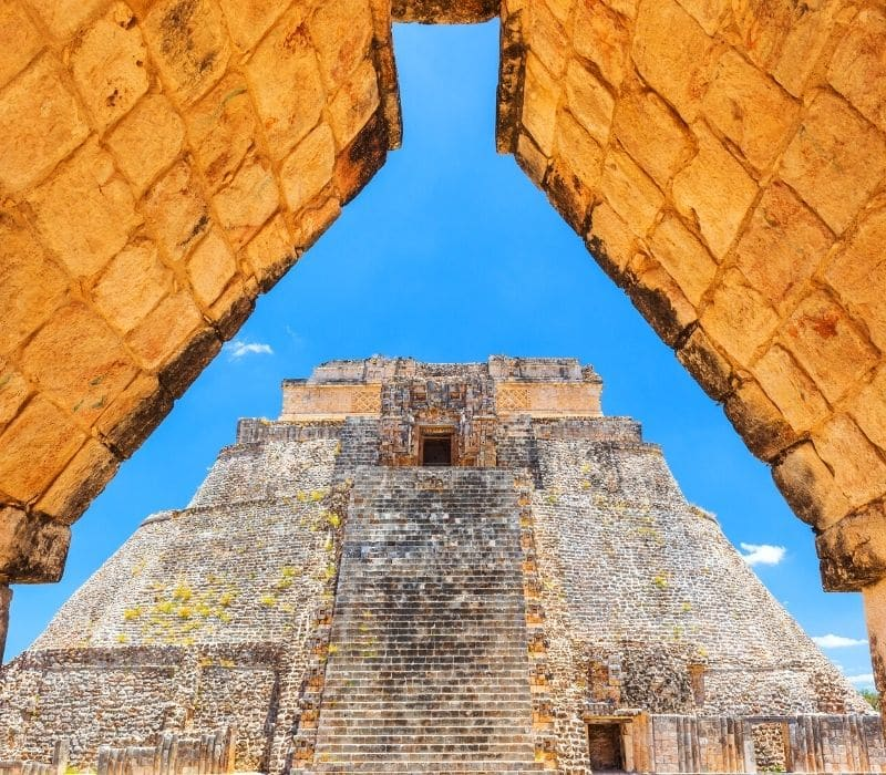 tall stone mayan pyramid of Uxmal, near Merida, Mexico, Yucatan Peninsula