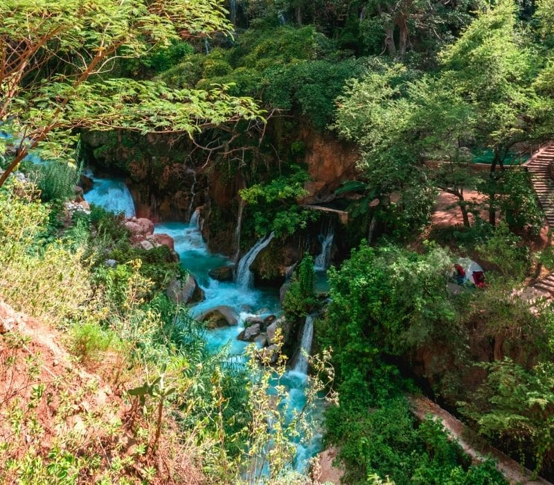 bright blue water and waterfalls in a forest - Visit Las Grutas Tolantongo
