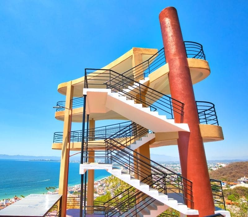 mirador cerro la cruz three story structure for looking over the town and nice city views | things to do in puerto vallarta mexico