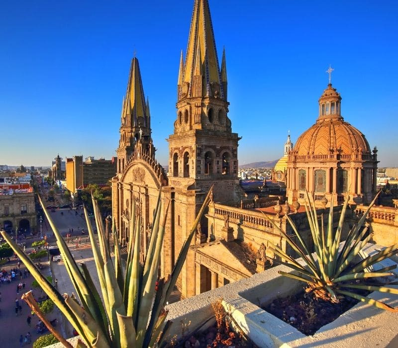 beautiful large spanish colonial church in the colonial town of Guadalajara, Jalisco, Mexico, located in central Mexico, and a safe place for female solo Mexico travel