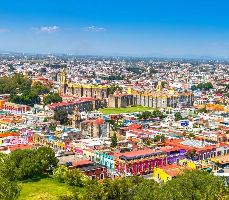 the colorful colonial town of Cholula, one of the most unique places to visit in mexico