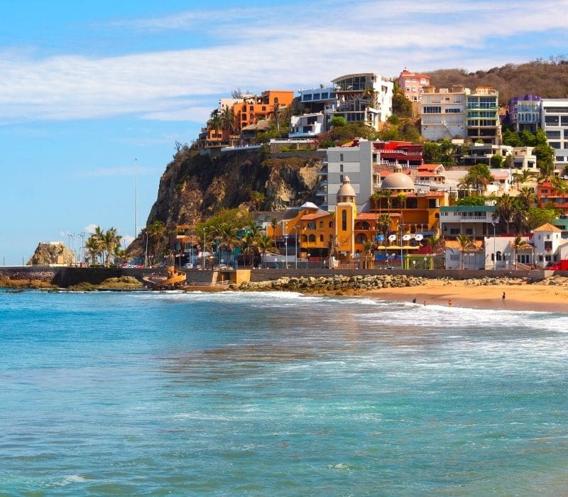 colorful buildings along the beach in Mazatlan, one of the Best Mexican Beach Towns