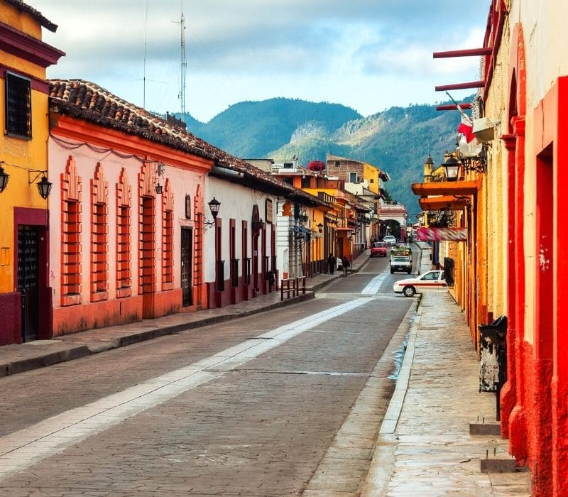 colorful streets of the colonial mexican town san cristobal de las casas, one of the most unique places to visit in mexico