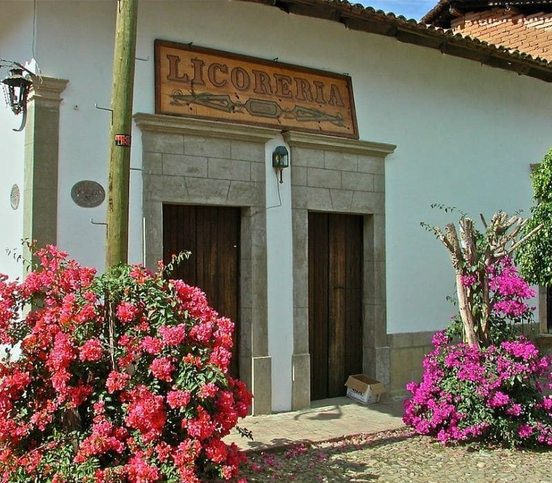 """old liquor store with vintage sign that says """"Licoreria"""" on a white building with red and purple flower bushes on the side s by the entrance in San Sebastian del Oeste, one of the most unique places to visit in mexico"""