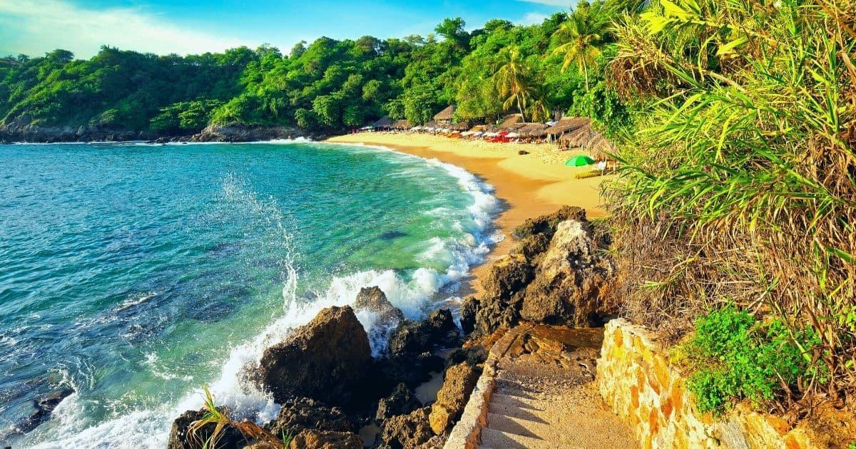 puerto escondido, mexico on playa carrizalillo, a tropical beach cove
