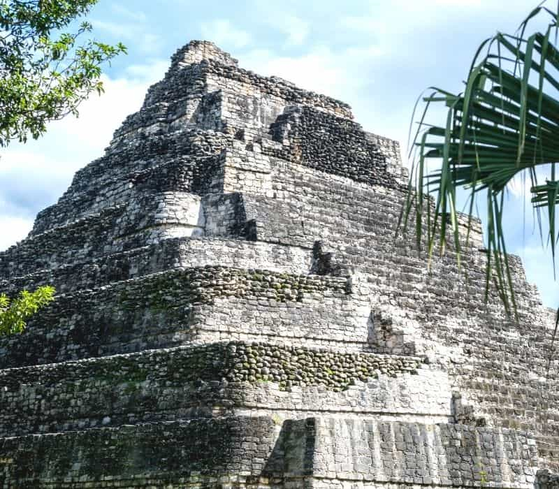 tall stone temple at Chacchoben, Best Mayan Ruins in the Yucatan