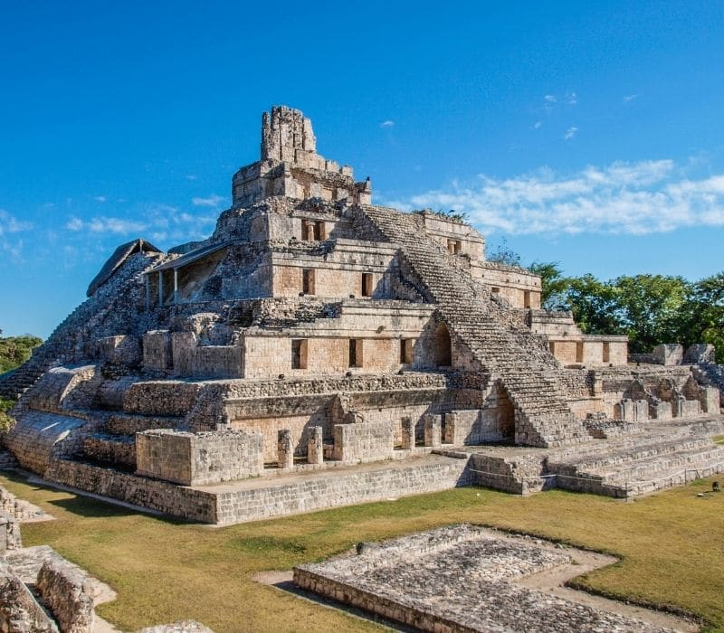 tall stone temple at Edzna, Campeche, Best Mayan Ruins in the Yucatan