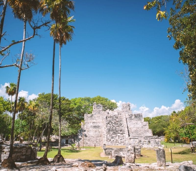 stone temple at El Meco, Cancun, Best Mayan Ruins in the Yucatan