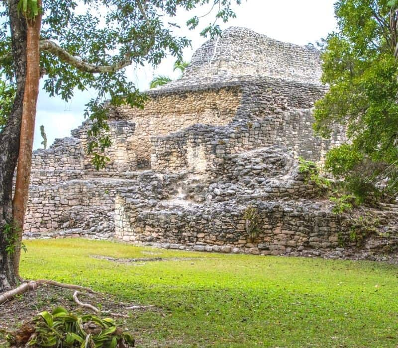 stone temple at Kohunlich Best Mayan Ruins in the Yucatan
