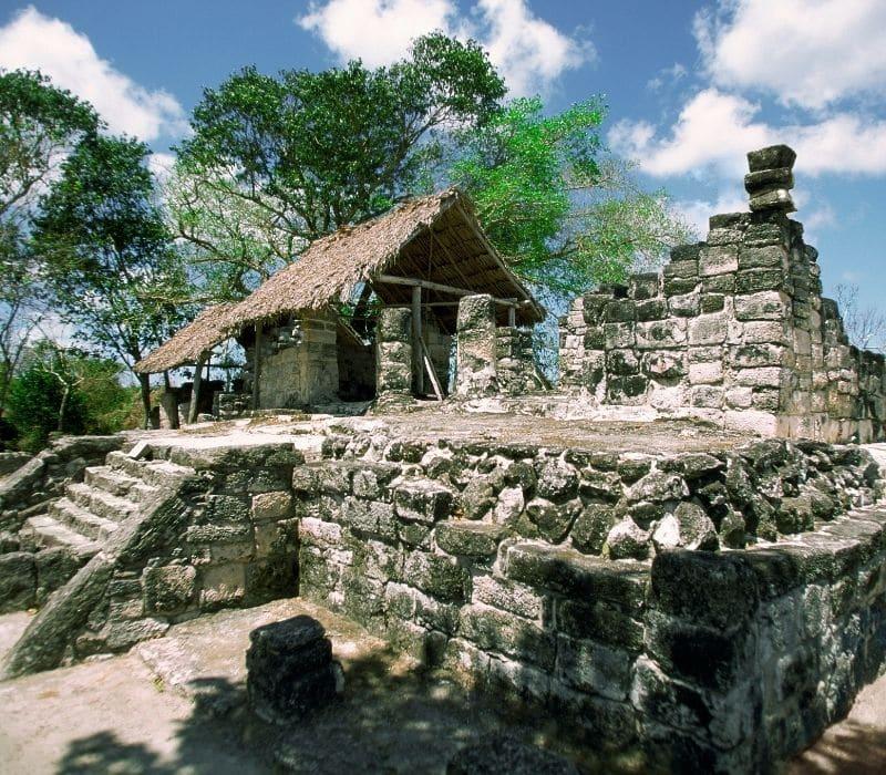 stone structures at San Gervasio Mayan Ruins in the Yucatan, Cozumel Island