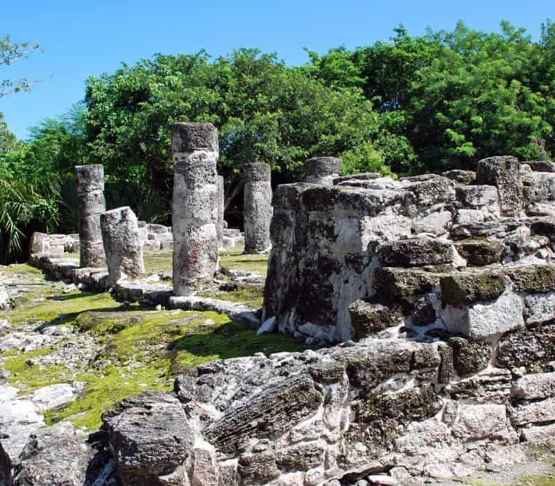 stone structures at San Miguelito Mayan Ruins in the Yucatan, Cancun