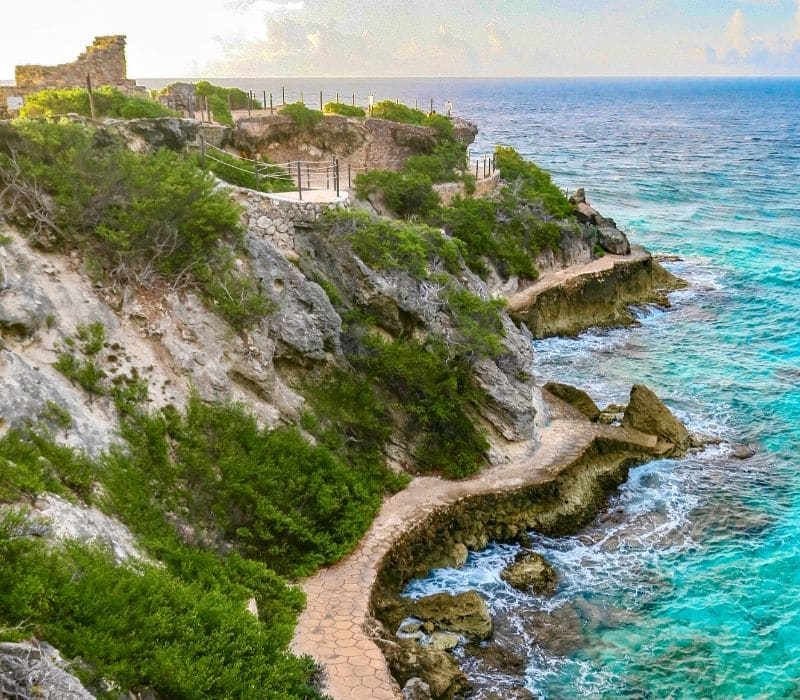 Temple of Ixchel stone structures at Xel Ha Mayan Ruins in the Yucatan along the Caribbean Sea in Isla Mujeres